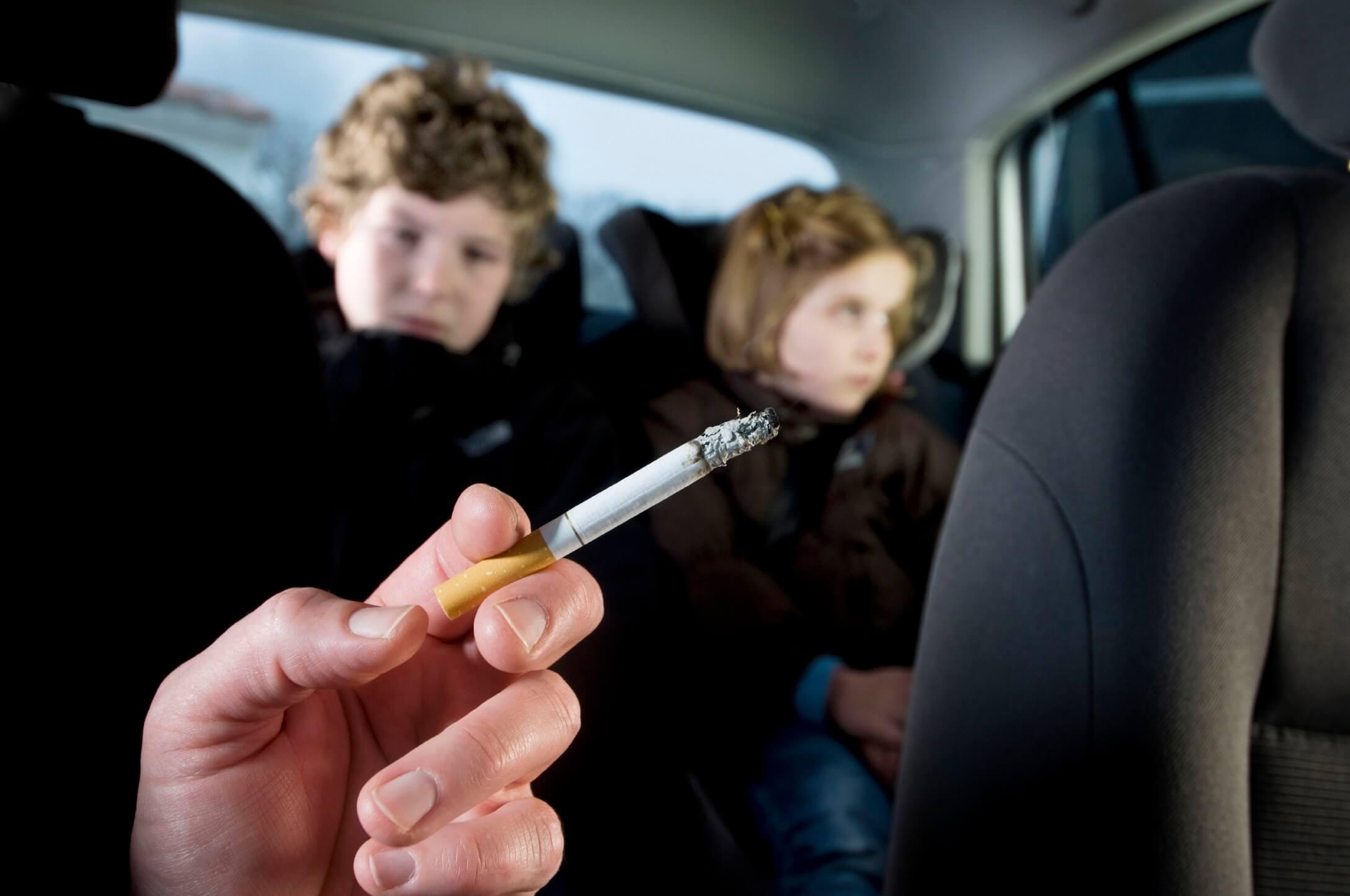 children in smoky car
